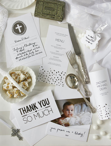 Alex Mae - Silver Christening Invitations
