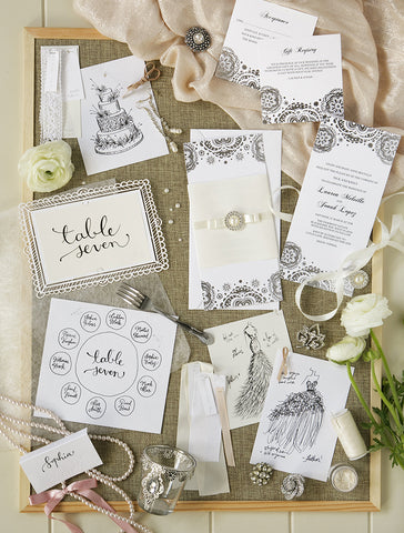 Alex Mae - Silver Lace Wedding Invitations