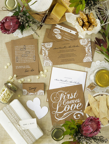 Alex Mae - Natural Kraft and White Doily Wedding Invitations