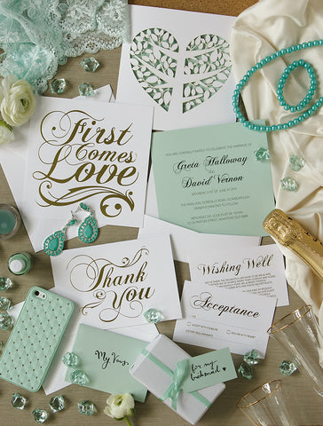 Alex Mae - Mint and Gold Wedding Invitations
