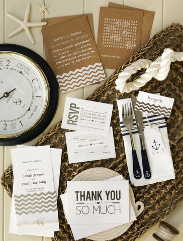 Alex Mae - Nautical Engagement and Wedding Invitations