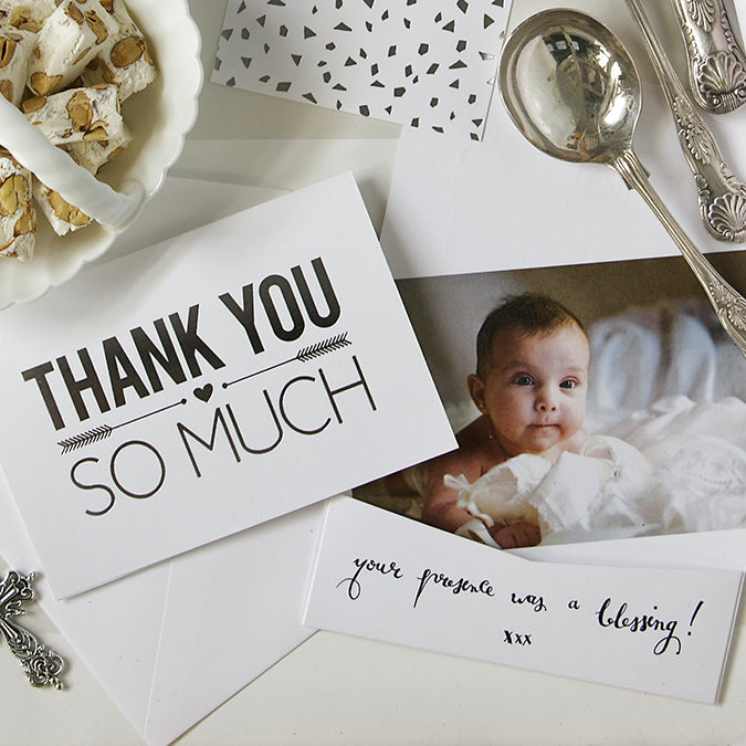 Alex Mae Christening Thank You Card