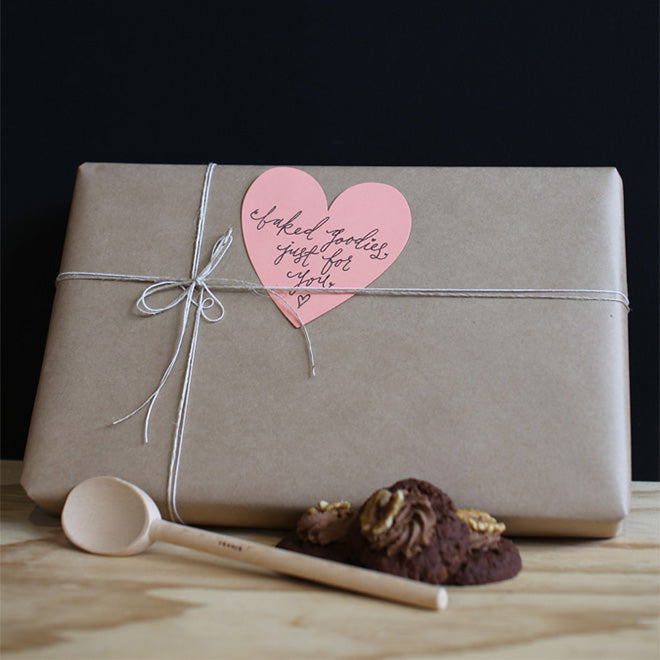 baked goodies with heart tag vertical