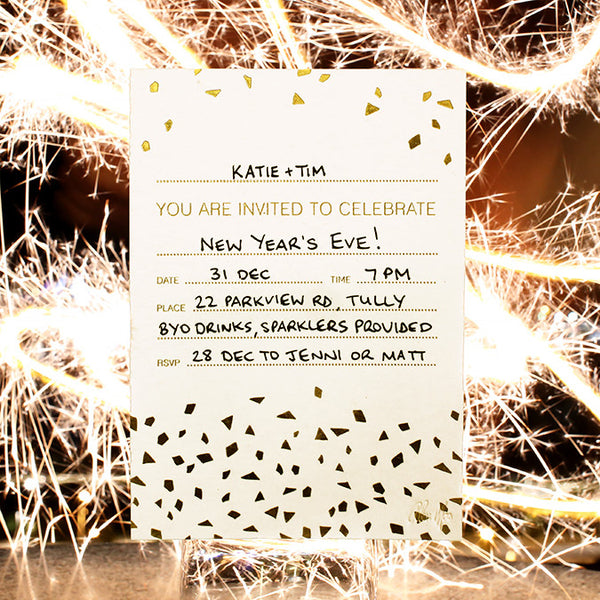 'Confetti' Gold Foil on White, Fill-in Invitations, 20pk