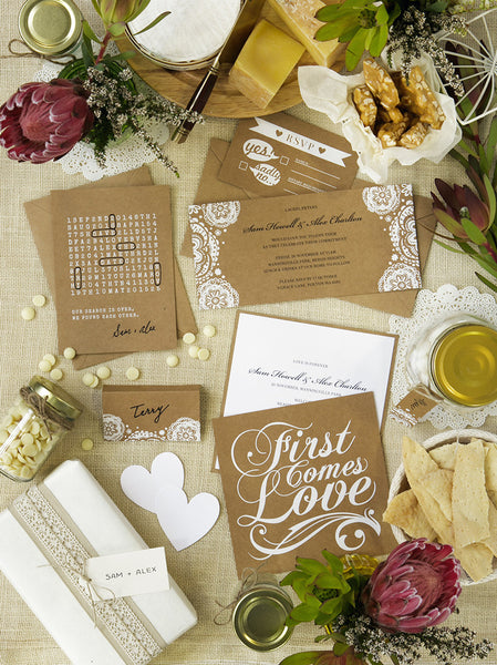 'First Comes Love' White Foil on Kraft, DIY Cards, 50pk