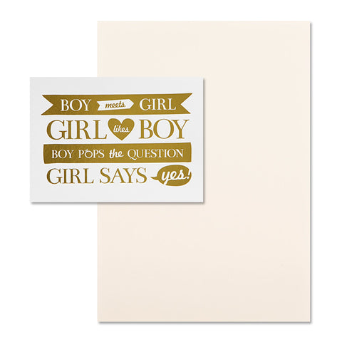 'Boy Meets Girl' Gold Foil on White, DIY Set A, 10pk