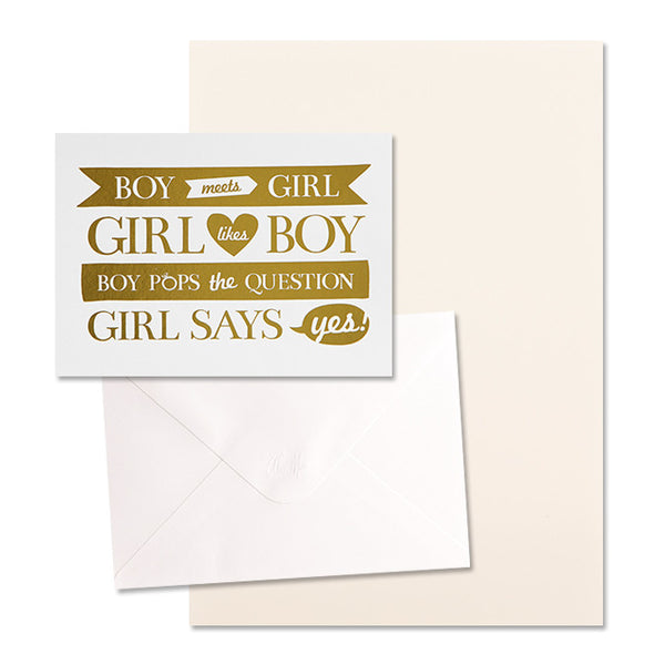 'Boy Meets Girl' Gold Foil on White, DIY Set C, 10pk