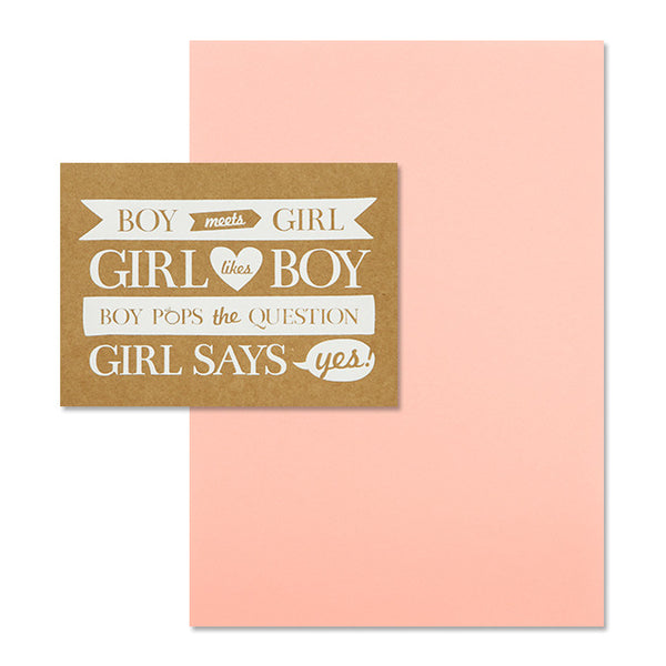 'Boy Meets Girl' White Foil on Kraft, DIY Set A, 10pk