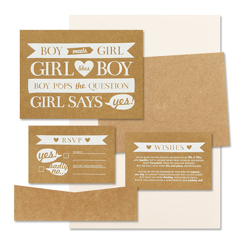 'Boy Meets Girl' White Foil on Kraft, DIY Set B, 10pk