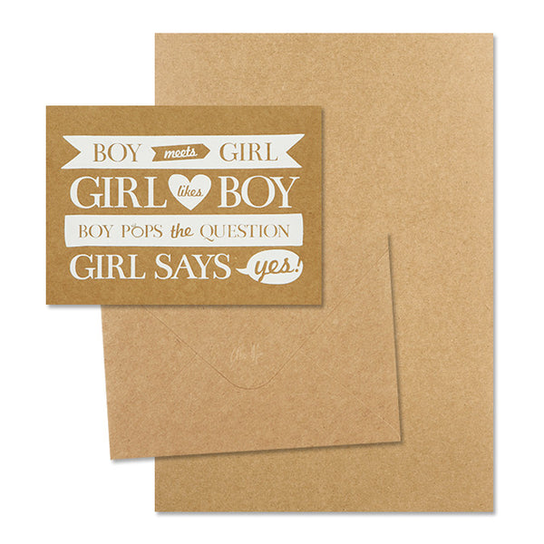 'Boy Meets Girl' White Foil on Kraft, DIY Set C, 10pk