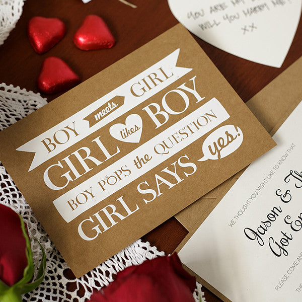 'Boy Meets Girl' White Foil on Kraft, DIY Cards, 10pk