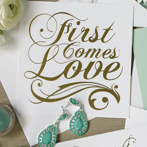 'First Comes Love' Gold Foil on White, DIY Cards, 10pk