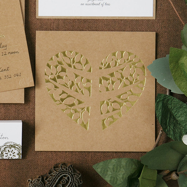 'Tree of Love' Gold Foil on Kraft, DIY Cards, 50pk