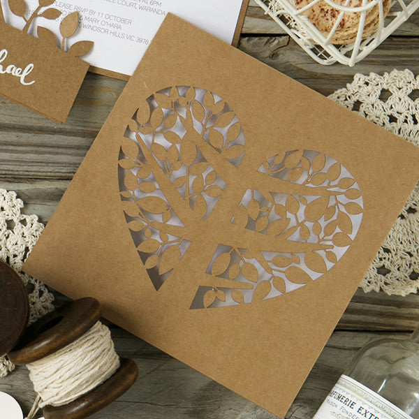 'Tree of Love' Laser-cut Kraft, DIY Cards, 50pk