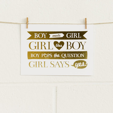 'Boy Meets Girl' Gold Foil on White, DIY Cards, 10pk