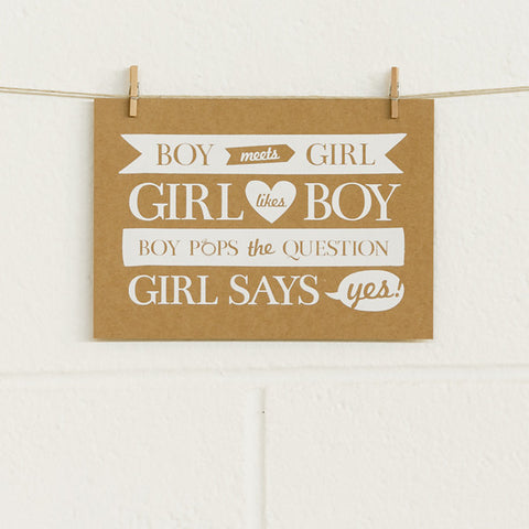 'Boy Meets Girl' White Foil on Kraft, DIY Cards, 50pk