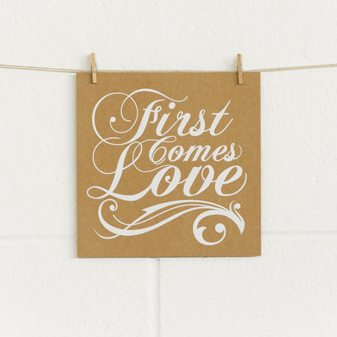 'First Comes Love' White Foil on Kraft, DIY Cards, 10pk