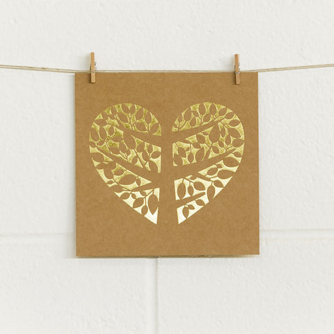 'Tree of Love' Gold Foil on Kraft, DIY Cards, 10pk