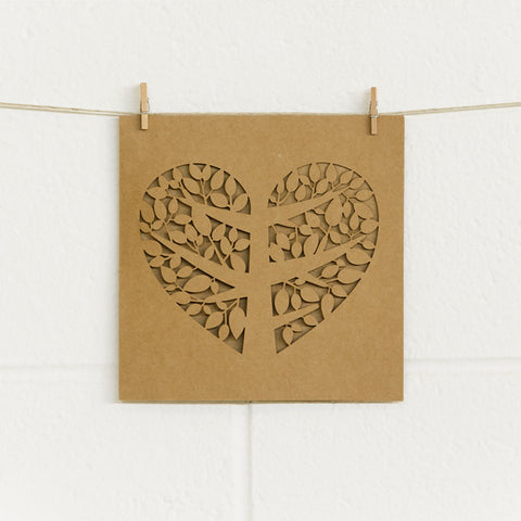 'Tree of Love' Laser-cut Kraft, DIY Cards, 10pk