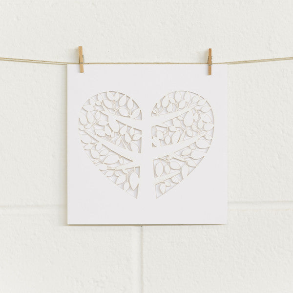 'Tree of Love' Laser-cut White, Greeting Cards, 10pk