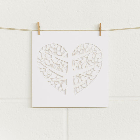 'Tree of Love' Laser-cut White, DIY Cards, 10pk