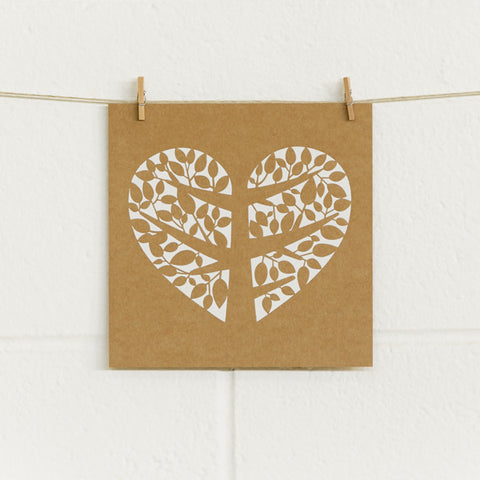 'Tree of Love' White Foil on Kraft, DIY Cards, 10pk