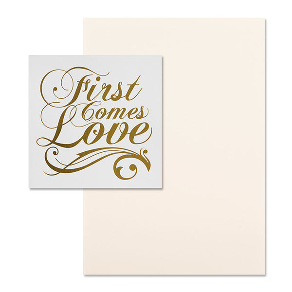 'First Comes Love' Gold Foil on White, DIY Set A, 10pk