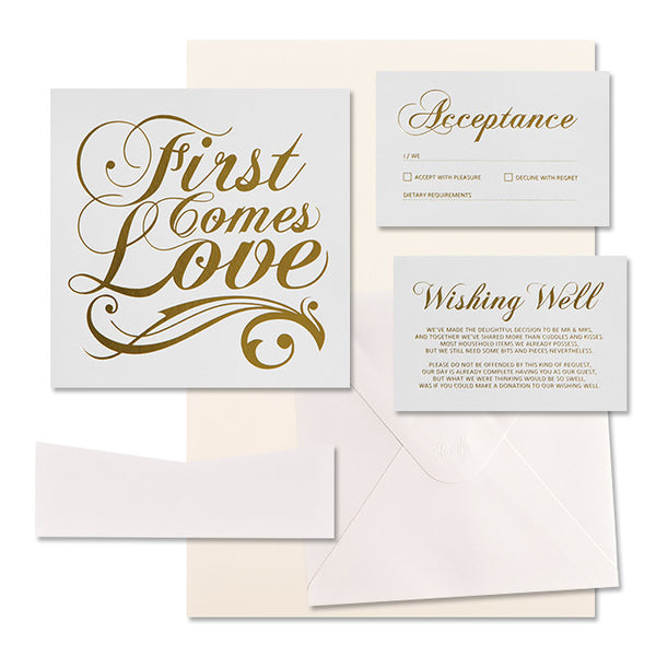 'First Comes Love' Gold Foil on White, DIY Set B, 10pk