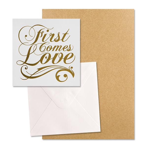 'First Comes Love' Gold Foil on White, DIY Set C, 10pk