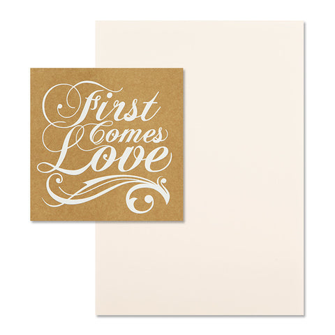 'First Comes Love' White Foil on Kraft, DIY Set A, 10pk