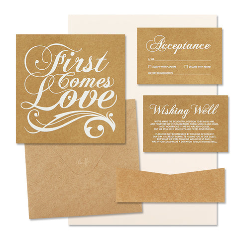 'First Comes Love' White Foil on Kraft, DIY Set B, 10pk