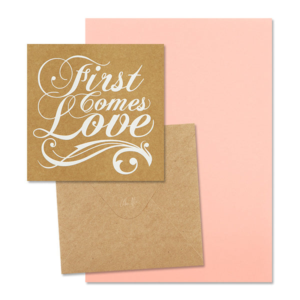 'First Comes Love' White Foil on Kraft, DIY Set C, 10pk