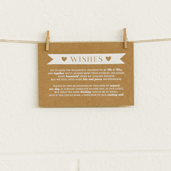 'Boy Meets Girl' White Foil on Kraft, Wishing Well Cards, 10pk
