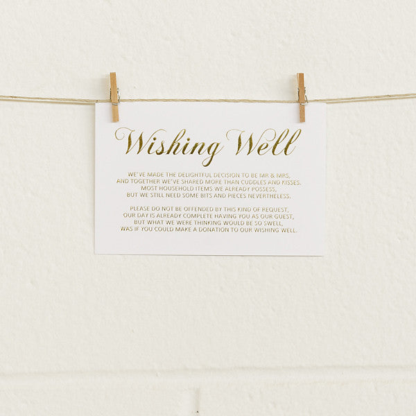 'First Comes Love' Gold Foil on White, Wishing Well Cards, 10pk