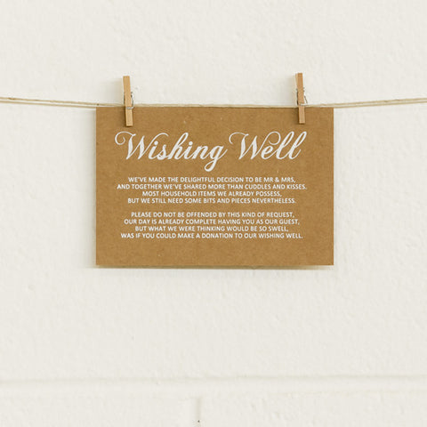 'First Comes Love' White Foil on Kraft, Wishing Well Cards, 10pk