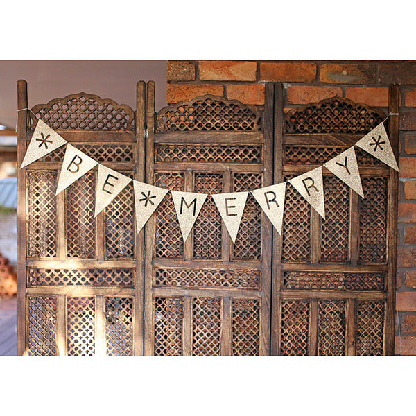 Glitter Bunting : Be Merry : Silver