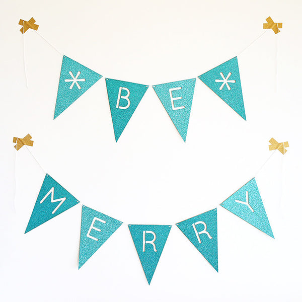 Glitter Bunting : Be Merry : Turquoise