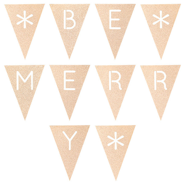 Glitter Bunting : Be Merry : Rose Gold