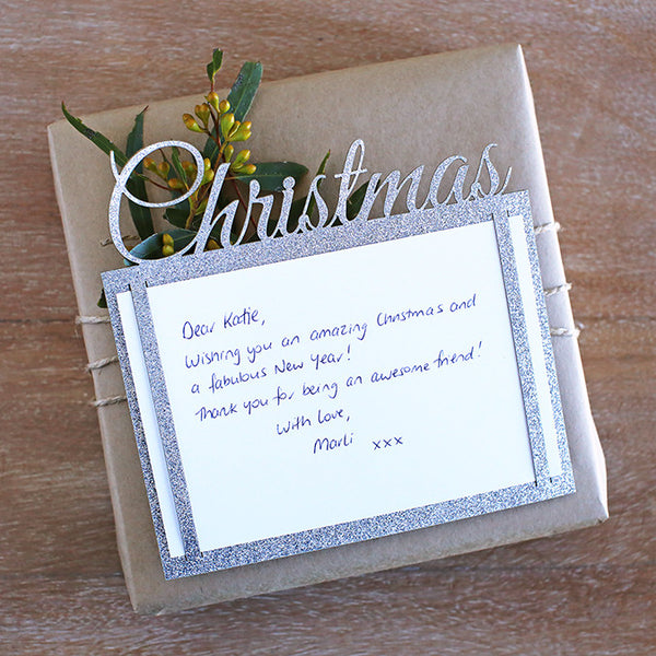 Glitter Cards + Envelopes : Christmas : Silver [8pk]