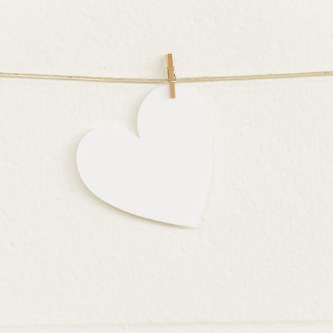 Paper Hearts, White Medium, 20pk