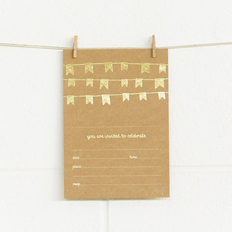 'Bunting' Gold Foil on Kraft, Fill-in Invitations, 20pk