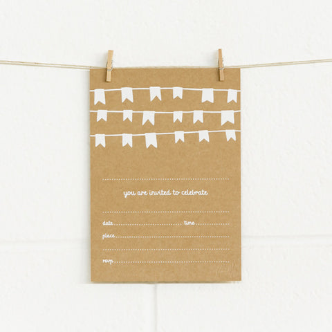 'Bunting' White Foil on Kraft, Fill-in Invitations, 20pk