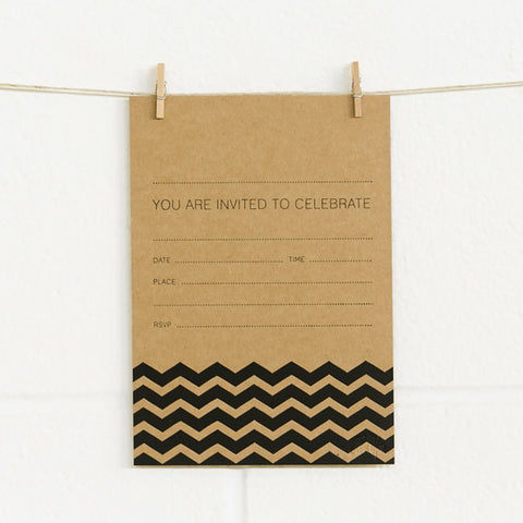 'Chevron' Black Foil on Kraft, Fill-in Invitations, 20pk