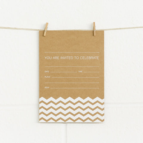 'Chevron' White Foil on Kraft, Fill-in Invitations, 20pk
