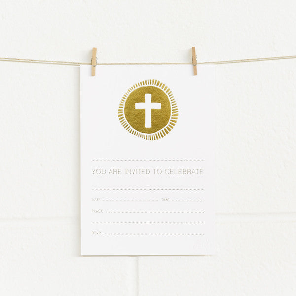 'Cross' Gold Foil on White, Fill-in Invitations, 20pk