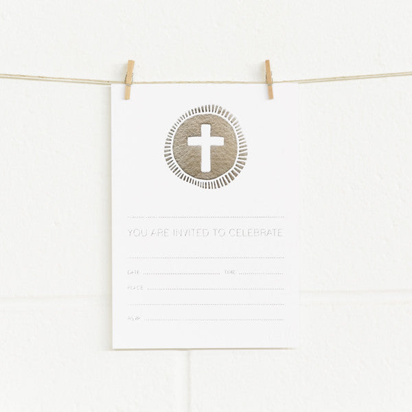 'Cross' Silver Foil on White, Fill-in Invitations, 20pk