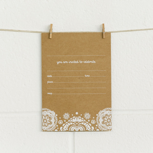 'Doily' White Foil on Kraft, Fill-in Invitations, 20pk