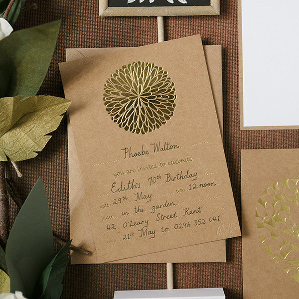'Dahlia' Gold Foil on Kraft, Fill-in Invitations, 20pk