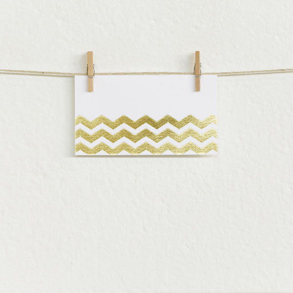 'Chevron' Gold Foil on White, Place Cards, 50pk