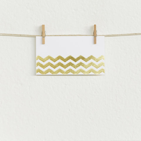 'Chevron' Gold Foil on White, Place Cards, 10pk